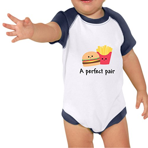 Price comparison product image A Perfect Pair Burger And Fries Infants Raglan Short Sleeve Bodysuit White Navy 12 Months