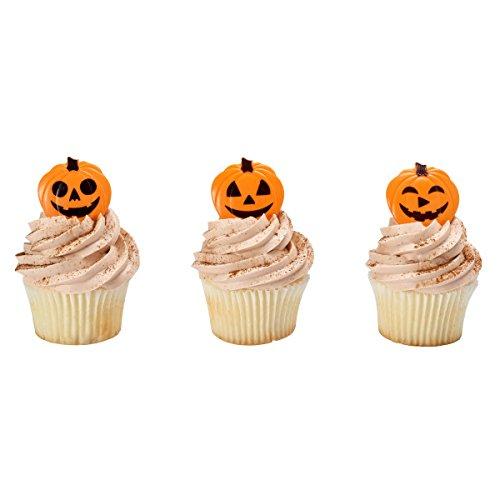 DecoPac Halloween Pumpkin Faces Jack-o-Lantern Cupcake Picks 24