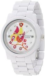 Sprout Women's ST/5046MPWT Diamond Dial Bird Theme White Corn Resin Bracelet Bio-Degradable Watch