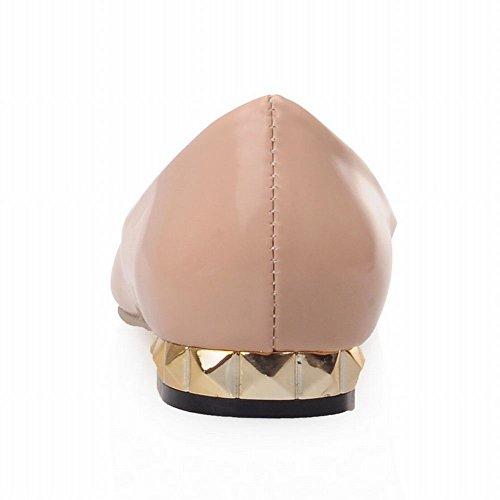 Latasa Femmes Fashion Perlé Carré-orteil Synthétique En Cuir Verni Faible Chunky Talon Confort Décontracté Pompes Abricot