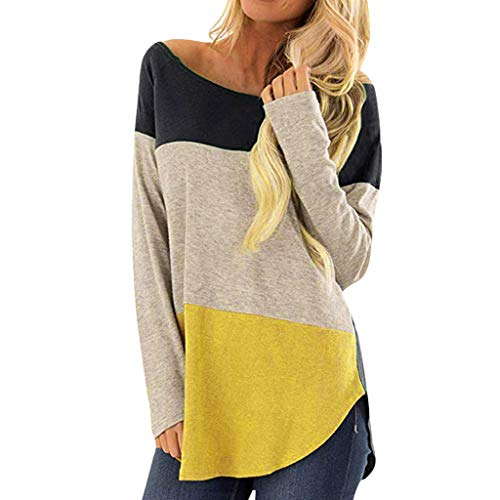 iZHH Womens Shirt Adult Costumes Casual Loose Patchwork Half Sleeve O-Neck T Shirts Tops Blouse(Navy,L)