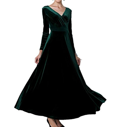 BubbleKiss Women V-Neck Long Sleeves Ruched Velvet Stretchy Cocktail Party Maxi (Great America Halloween Schedule)