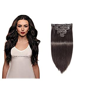YONNA Remy Human Hair Clip in Extensions Dark Brown #2 Double Weft Long Soft Straight 10 Pieces Thick to Ends Full Head 20inch 200g