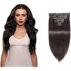 YONNA Remy Human Hair Clip in Extensions Dark Brown #2 Double Weft Long Soft Straight 10 Pieces Thick to Ends Full Head 14inch 100g