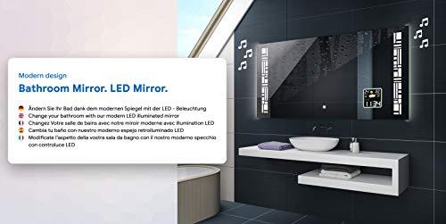 FORAM Espejo de Baño con Iluminación LED - Luz Espejo de Pared con Interruptor táctil, Sistema Antivaho función y LED Reloj - Diferentes tamaños para Baño ...
