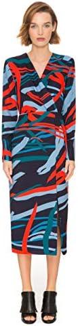 Vestido midi recto de manga larga con pared de dormitorio de mujer de CMeo Collective estilo de escote en V CMEOD