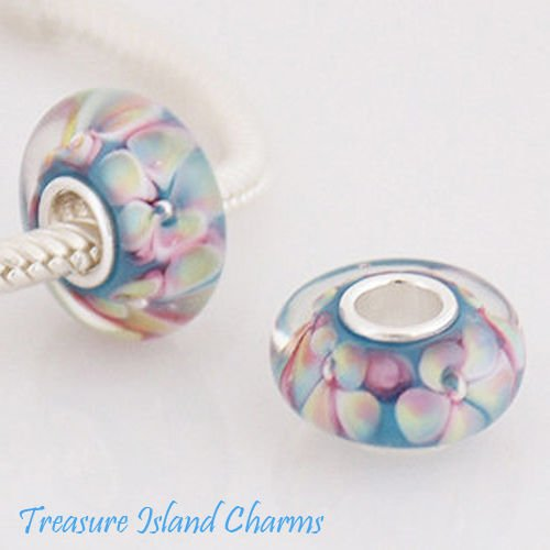 Hydrangea Flower LAMPWORK Murano Glass .925 Sterling Silver European Bead Charm Ideal Gifts, Pendant, Charms, DIY Crafting, Gift Set from Heart by Wholesale Charms