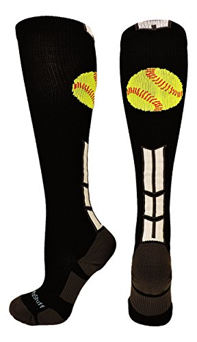 Softball Logo Over the Calf Socks (Black/White/Graphite, Medium)