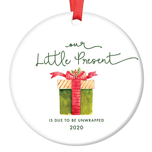 "Little Present Christmas Ornament Baby Due Date 2020 Festive Ceramic Holiday Keepsake Expecting Parents Family Surprise Pregnancy Announcement 3"" Flat Porcelain with Red Ribbon & Free Gift Box OR00248"