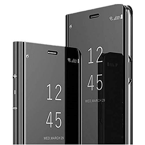 Case for Samsung Galaxy Note 5 Mirror Case Flip Cover Super Slim PC 360 Anti-Scratch Luxury Hard Protective Case (Black)