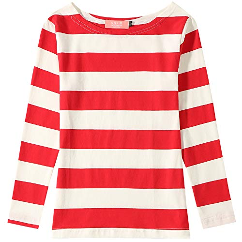 Waldo Costume Girl (SSLR Big Girl's Crew Neck Long Sleeve Cotton Stripe Tee Shirt (Medium(10-12), Red)