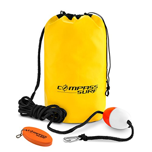 Compass Surf Sand Anchor Kit for Kayaks, Jet Skis, and Boats. Includes 15 feet of Marine Grade Rope, Buoy, Stainless Steel Clip, and Keychain Float. Reinforced Seams for Durability. (Anchor Sand Pwc)