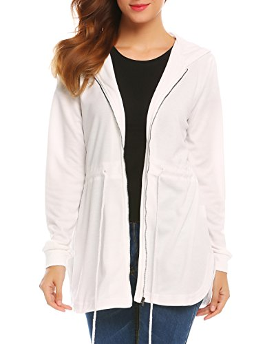 SE MIU Women's Long Sleeve Curved Hem Zip Up Hooded Jacket With Drawstring