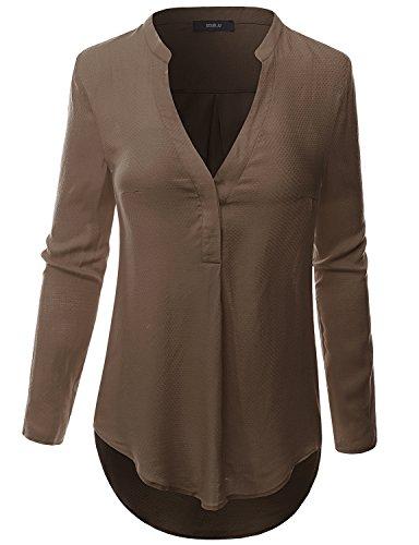 Doublju Women Comfortable Solid Color 3/4 Sleeve Plus Size Shirt MOCHA,3XL