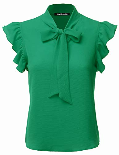Womens Mesh Tie - FASHIONOLIC Women's Casual Cap Sleeve Bow Tie Blouse Top Shirts (PSALM23) KellyGreen S