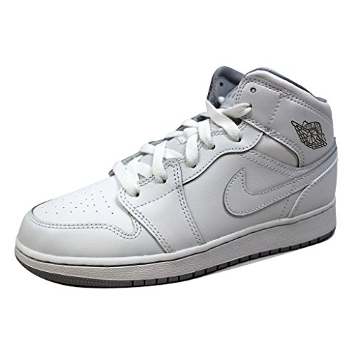 Price comparison product image NIKE Youths Air Jordan 1 Mid White Leather Trainers 38.5 EU