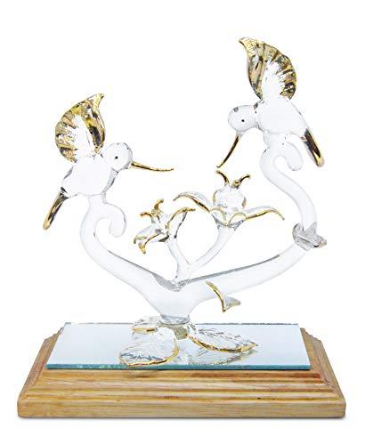 (NaCraftTH Hummingbirds & Flowers Handmade Figurines Glassblowing Artwork Gold Fantasy Statue w/Wood Base Romantic Anniversary Wedding Gifts)