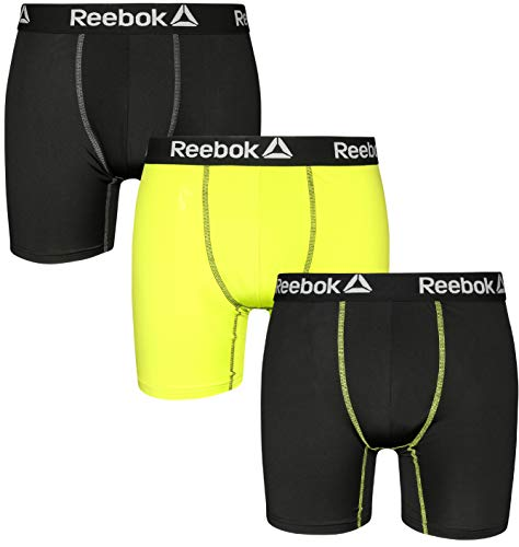 Reebok Mens 3 Pack Performance Anti-Microbial Boxer Briefs, Black/Lime/Black, Large'