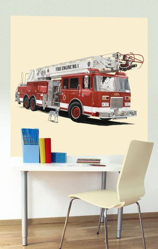 Oopsy Daisy That Stick Classic Red Fire Engine by Jill Bachman Pabich Murals, 54 by 54-Inch