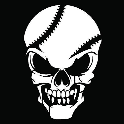 Baseball Skull Vinyl Decal Sticker   Cars Trucks Vans Walls Windows Laptops Cups   White   5.5 X 3.7   KCD1887