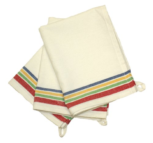 (Aunt Martha's 18-Inch by 28-Inch Package of 3 Vintage Dish Towels, Multi Striped)