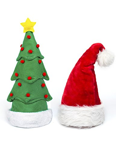 Funny Christmas Hat, 2 Pack Christmas Tree Hat and Plush Santa Claus Hat, Hilarious Santa Hat Red Christmas Cap Costume for Adults Kids Children by DomeXmas (Santa Christmas Hat Tree)