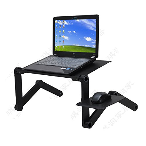 Wabaodan Laptop Table Stand Adjustable Riser Portable with Mouse Pad Fully Ergonomic Mount Ultrabook MacBook Notebook Light Weight Aluminum 【Ship From USA】 (Black) ()