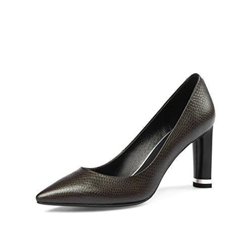 Ladies Fashion Block Heels Genuine Leather Women Pumps Black High Heels Party Women Court Shoes Khaki LHaHPF