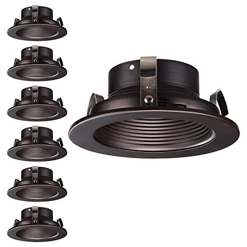 (TORCHSTAR 4 Inches Recessed Can Light Trim, Oil Rubbed Bronze Metal Step Baffle Trim, for PAR20, R20 Light Bulbs, for 4