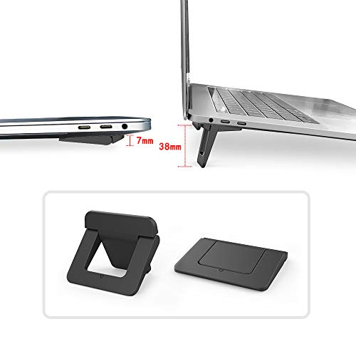 Computer Keyboard Stand Laptop Feet Laptop Stands, Cooling Ergonomic [2 Pack] Anti-Slip Durable ABS Lightweight Stable Ultra Compact & Portable for Ipad, Tablet, Notebook & MacBook (Black)