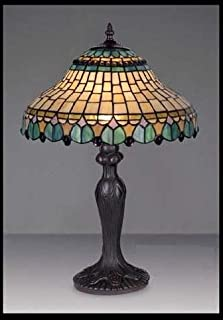 Bieye l30549 18 inches wisteria tiffany style stained glass table peacock stained glass tiffany table lamp mozeypictures Image collections