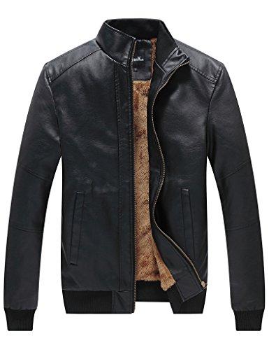 WenVen Men's Winter Fashion Faux Leather Jackets(Black, US size XL)