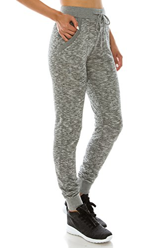 Poplooks Women's Lightweight Comfy Jogger Pants (Large, Heather Grey)
