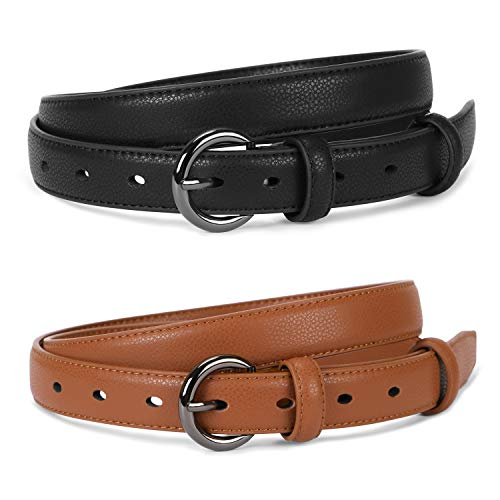 Jeans Ladies Leather (Women Skinny Thin Leather Belt For Jeans Pants Ladies Solid Color With Pin Buckle Fashion Waist Belts For Dress Casual Formal)