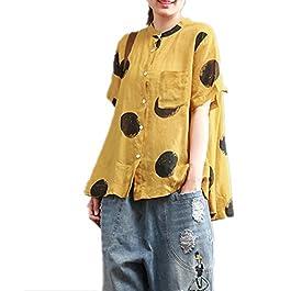 YESNO QR5 Women Shirts Blouse Crop Tops Polka Dots Mandarin Collar A Skirt Hi-Low Hem/Breast Pocket