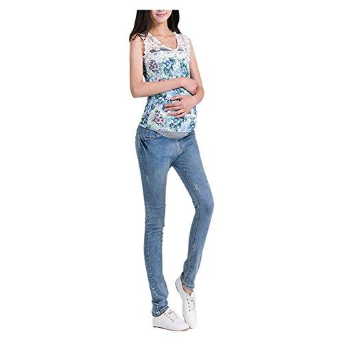 En Ajustable Pantalon vrac jeans Hzjundasi Style Enceinte Clair 19 Gland lastique Maternit Bleu Dchir Bleu qIIFvt