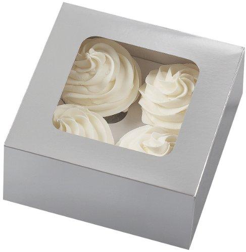Wilton 4 Cavity Silver Cupcake Boxes, 3 Count