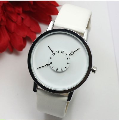 Unisex Leather band Fashion Casual Wrist Watch White (Mens Watches Fossil Cheap)