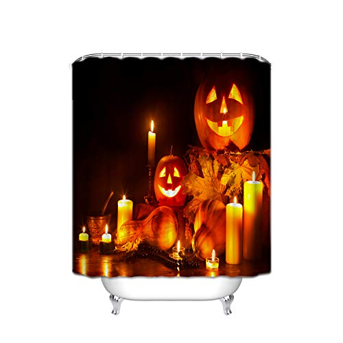 FANNEE Halloween Yellow Maple Evil Smiley Pumpkin Candle Holiday Night Shower Curtain Waterproof, Soap and Mildew - Polyester Bathroom Curtain Decoration Set - 12 Shower Hooks (72 X 72 Inches) -