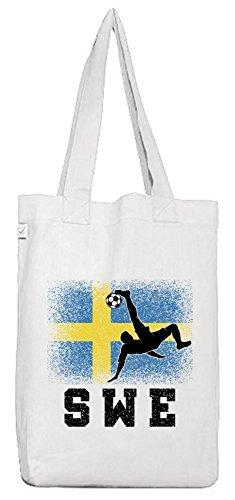 ShirtStreet Schweden Sverige Fußball WM Fanfest Gruppen Bio Baumwoll Jutebeutel Stoffbeutel Sweden Football Player White gTUT3W9JH
