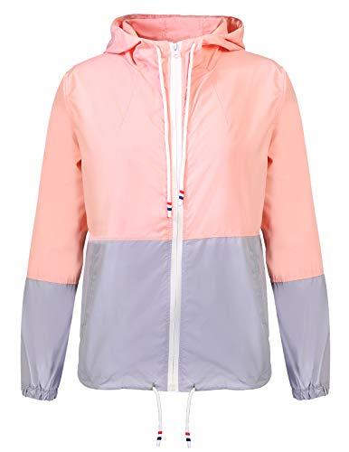 ANGGREK Ladies Waterproof Patchwork Raincoat Outdoor Running Jackets Windbreaker Pink -