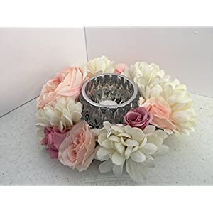 Candle Holder Arrangement- Geometric Cut Glass - Pink Roses and White Zinnias 57