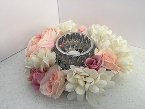 ement- Geometric Cut Glass - Pink Roses and White Zinnias ()