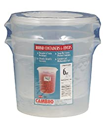 Cambro Rfs6ppsw2190 6-quart Round Food-storage Container With Lid, Set Of 2