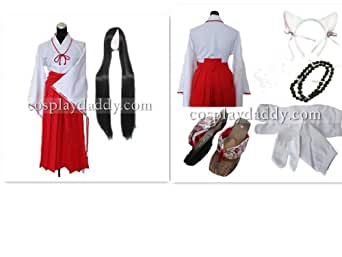 Inuyasha Kikyo Cosplay Costume including outfit+necklace+wig+sock+shoes+other