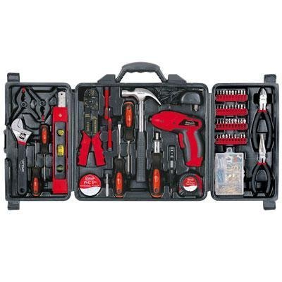 Apollo Tools Apollo 161 Piece Household Tool Kit With 4.8 Volt Rechargeable Cordless Screwdriver ()