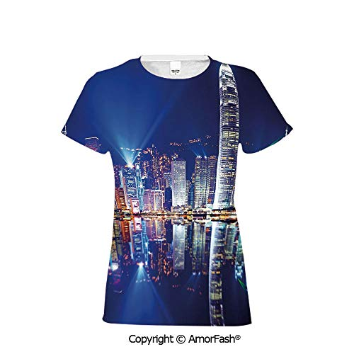 Crew Neck for Ultimate Comfort T-Shirt,City,Hong Kong Island from K