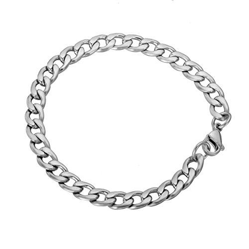 HooAMI Stainless Steel Silver Flat Cuban Link Curb Bracelet 20cm(7 7/8