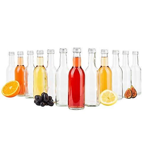 MamboCat 12er Set Bordeaux Flasche klar + Silberne Schraubdeckel I 250 ml I Leere Glasflasche zum Abfüllen von Wein…