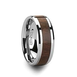 HALIFAX Tungsten Wedding Band with Bevels and Black Walnut Wood Inlay - 8mm